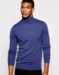 Reiss Merino Wool Roll Neck Jumper Airforce