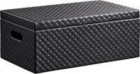 Cb2 Quilted Black Storage Box With Lid