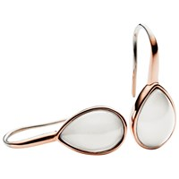 Skagen Sea Glass Teardrop Drop Earrings Rose Gold White