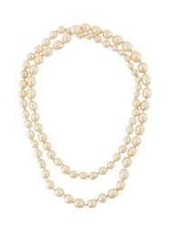 Chanel Vintage Pearl Chain Necklace Metallic