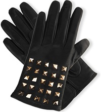 Valentino Studded Leather Gloves Blk