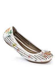Me Too Farrah Laser Cut Leather Flats White Floral Print