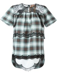 N 21 Nao21 Lace Insert Checked Blouse Grey