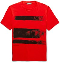 Balenciaga Paint Print Cotton Jersey T Shirt Red