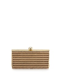 Sondra Roberts Metal Link Frame Evening Clutch Golden