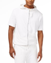 Sean John Men's Limited Edition French Terry Short Sleeve Hoodie Bright White