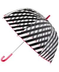 Kate Spade New York Striped Umbrella Black Clear Stripes
