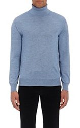 Brioni Men's Cashmere Silk Turtleneck Sweater Blue Light Blue