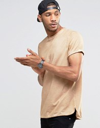 Asos Longline T Shirt With Roll Sleeve And Step Hem In Camel Pigment Dye Camel Tan