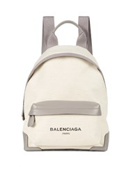 Balenciaga Navy Canvas And Leather Backpack Grey Multi