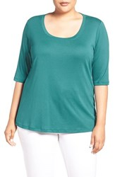 Sejour Plus Size Women's Elbow Sleeve Scoop Neck Tee Teal Green