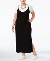 Soprano Trendy Plus Size Layered Look Maxi Dress Black White