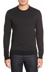 Men's Boss 'Abruzzi' Stripe Crewneck Sweatshirt Black