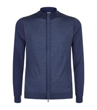Armani Collezioni Colour Block Zip Up Cardigan Male Navy