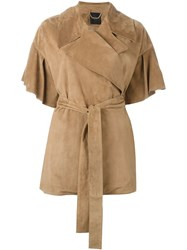 Agnona Ruffle Sleeve Caban Jacket Brown