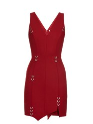 Thierry Mugler Asymmetric Hem Wool Blend Dress Red