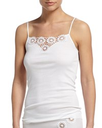 Hanro Eva Floral Embroidered Lounge Layering Camisole Size Small White