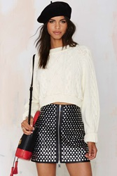 Nasty Gal After Party Vintage Bridgette Cropped Cable Sweater