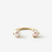 Aesa Single Wave 6Mm Stoned Ring Pearl Bronze