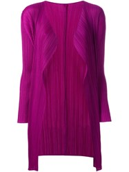 Pleats Please By Issey Miyake Pleated Cardigan Pink And Purple