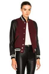 Saint Laurent Teddy Bomber Jacket In Red