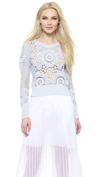 Tess Giberson Crocheted Cropped Sweater Pool