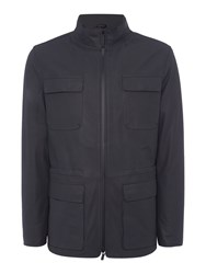 Armani Collezioni Men's Caban Leather Coat Navy