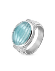 Roma Imperiale Carved Aquamarine And Diamond 18K Gold Ring