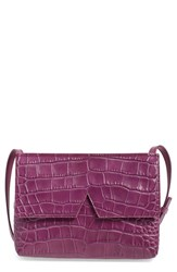 Vince 'Small' Croc Embossed Leather Crossbody Bag Coral Peony