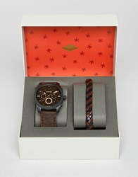 Fossil Brown Leather Watch And Bracelet Gift Set Brown