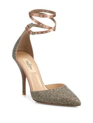 Valentino Glitter Ankle Wrap Point Toe Pumps Poudre