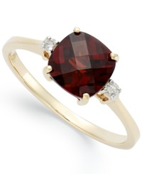 Macy's 14K Gold Garnet 1 7 8 Ct. T.W. And Diamond Accent Ring