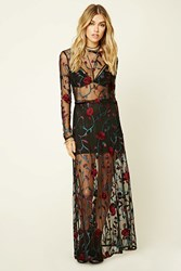 Forever 21 Floral Embroidered Maxi Skirt Black Red
