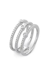 Women's Bony Levy Three Row Pave Diamond Band Ring White Gold