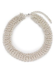 Jacques Vert Woven Beaded Necklace Silver Metallic