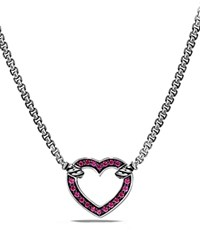David Yurman Cable Collectibles Heart Station Necklace With Pink Sapphire Pink Silver
