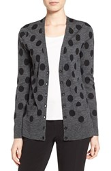 Halogenr Petite Women's Halogen V Neck Lightweight Merino Cardigan Heather Grey Black Dot