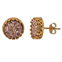 Alanna Bess Jewelry Rose Gold Coated Druzy Stud Earrings