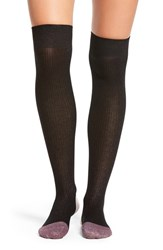 Kate Spade Women's New York Sparkle Ribbed Over The Knee Socks Black