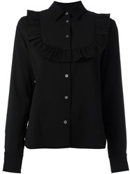 Maison Kitsune Ruffled Panel Shirt Black