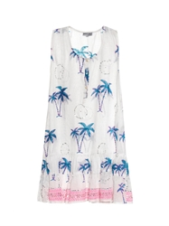 Juliet Dunn Embellished Palm Print Cover Up