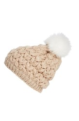 Women's Collection Xiix Crochet Pompom Beanie Beige Frosted Oatmeal