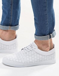 Asos Lace Up Plimsolls In White With Perforation White