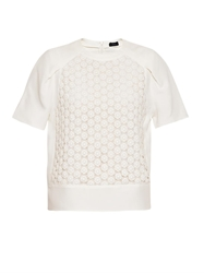 Joseph Guipure Floral Cotton Lace And Silk Top