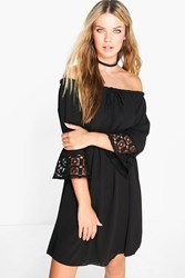 Boohoo Off Shoulder Crochet Sleeve Dress Black