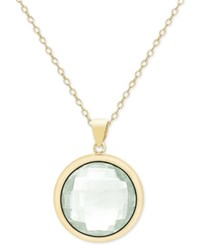 Victoria Townsend Green Quartz Bezel Pendant Necklace 18 Ct. T.W. In 18K Gold Plated Sterling Silver Yellow Gold
