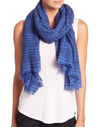 Tilo Check Baby Wool Scarf Grey Blue
