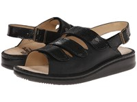 Finn Comfort Sylt 82509 Black Snake Nappa Soft Footbed Women's Shoes