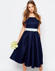 Chi Chi London High Neck Midi Prom Dress With Full Skirt Navy