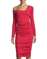 Melissa Masse Asymmetric Neck Ruched Dress Red